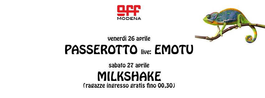 OFF Modena Copertina Passerotto Emotu MILKSHAKE