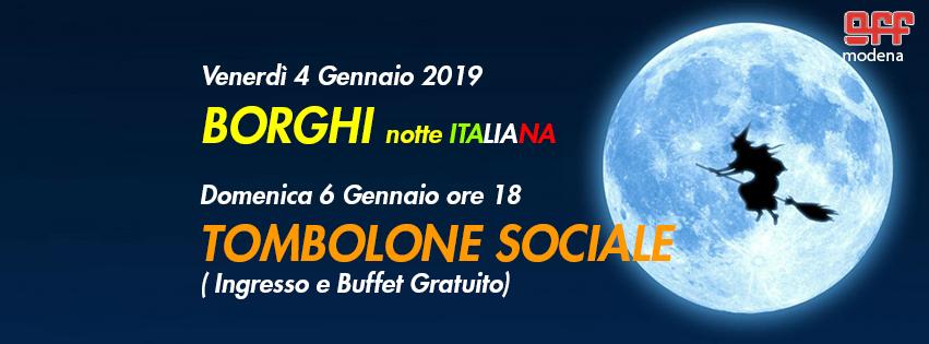 OFF Modena 4 gennaio 2019 borghi 6 Befana Tombola sociale